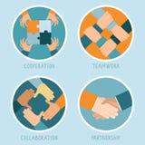Vektorteamwork- und -zusammenarbeitskonzept Lizenzfreie Stockfotografie