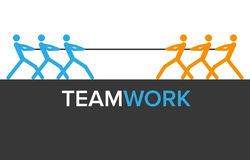 Vektorteamworkdiagram med två lag Arkivfoton