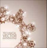 Vektortechnischer Hintergrund gebildet von den Zahnrädern Stockfotos