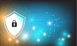 Vektortechnologie-Sicherheitsdesign mit verschiedenem technologischem, Schutzkonzept Lizenzfreie Stockfotos