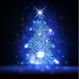 Vektortechnologie Weihnachtsbaum Lizenzfreies Stockbild