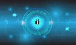 Vektortechnologiekreis mit Sicherheitsdesign auf blauem Hintergrund, Schutzkonzept Lizenzfreie Stockfotografie