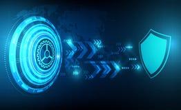 Vektortechnologiekreis mit Sicherheitsdesign und Wort zeichnen, Schutzkonzept auf Lizenzfreies Stockfoto
