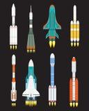 Vektortechnologieschiffsraketen-Karikaturdesign für Startinnovationsprodukt und Kosmosphantasieraum starten Grafik lizenzfreie abbildung