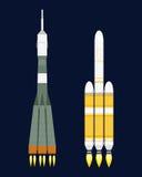 Vektortechnologieschiffsraketen-Karikaturdesign für Startinnovationsprodukt und Kosmosphantasieraum starten Grafik stock abbildung
