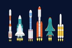 Vektortechnologieschiffsraketen-Karikaturdesign für Startinnovationsprodukt und Kosmosphantasieraum starten Grafik vektor abbildung