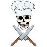 Vektortecken - skallekock och korsade knivar vektor illustrationer