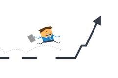 Vektortecknad film Affärsmanspring och banhoppning på affärslinjen graf Stock Illustrationer