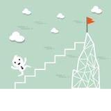 Vektortecknad filmaffärsmannen klättrar upp stegen till överkanten Royaltyfri Bild