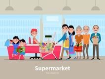 Vektortecknad filmfolk som gör shoppingsupermarket Arkivfoto