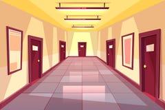 Vektortecknad filmhall, korridor med många dörrar stock illustrationer