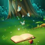 Vektortecknad filmillustration av bakgrundsskoggläntan med boken vektor illustrationer