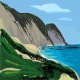 Vektortecknad filmillustration av berg och havet Hand-dragit landskap Royaltyfri Foto