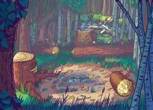 Vektortecknad filmillustration av en Forest Clearing S Arkivbilder