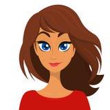 Vektortecknad filmillustration av en härlig kvinnastående med långt brunt hår och den röda klänningen Överkant-modell flicka royaltyfri illustrationer