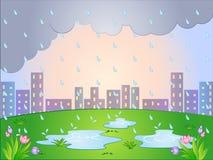 Vektortecknad filmillustration av en regnig dag royaltyfri illustrationer