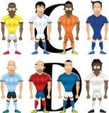 Vektortecknad filmillustration av fotbollspelare Arkivfoto