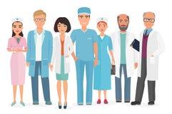 Vektortecknad filmillustration av gruppen av doktorer, sjuksköterskor och annan medicinsk personal stock illustrationer
