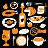 Vektortecknad filmillustration av medelhavs- kokkonst på svart bakgrund Spanskt matbegrepp vektor illustrationer