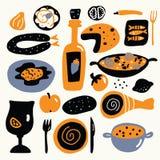 Vektortecknad filmillustration av medelhavs- kokkonst Spanskt matbegrepp vektor illustrationer