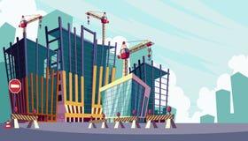 Vektortecknad filmillustration av processen av konstruktionen av byggnader royaltyfri illustrationer