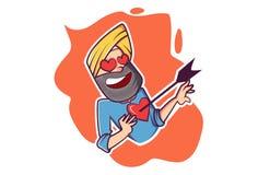 Vektortecknad filmillustration av Punjabimannen royaltyfri illustrationer