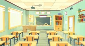 Vektortecknad filmillustration av skolaklassrumet royaltyfri illustrationer