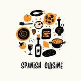 Vektortecknad filmillustration av spansk kokkonst i cirkel stock illustrationer