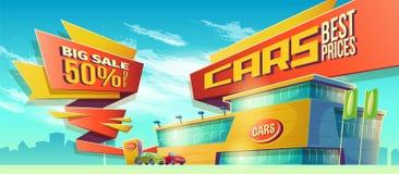 Vektortecknad filmillustration, baner av försäljningar, ett specialt erbjudande för bilåterförsäljaren royaltyfri illustrationer