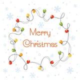 Vektortecknad filmillustrationen av glödande ljus för julkransfärg för Xmas semestrar Jultecknad filmljus vektor illustrationer