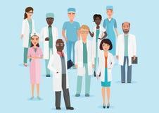 Vektortecknad filmillustrationen av laget för den medicinska personalen för sjukhuset manipulerar och sjuksköterskor stock illustrationer
