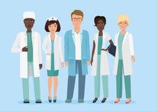 Vektortecknad filmillustrationen av laget för den medicinska personalen för sjukhuset, manipulerar och vårdar tecken MEDICINSKT b royaltyfri illustrationer