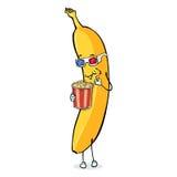 Vektortecknad filmtecken - banan med popcorn och 3d-Glasses Arkivfoton