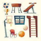 Vektortecknad filmuppsättning av idrottshallutrustning för skola royaltyfri illustrationer