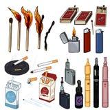 Vektortecknad filmuppsättning av röka och Vaping objekt stock illustrationer
