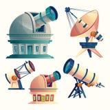 Vektortecknad filmuppsättning med astronomisk utrustning vektor illustrationer