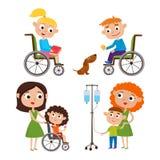 Vektortecknad filmuppsättning med ungar - moder med hennes sjuka lilla unge stock illustrationer