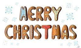Vektortecknad filmuppsättningen av alfabetet semestrar den ljust rödbrun kakan som isoleras på vit bakgrund glad jul vektor illustrationer