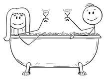 Vektortecknade filmen av mannen och kvinnan som tillsammans kopplar av i gruppering, badar med exponeringsglas av vin vektor illustrationer