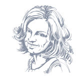 Vektorteckning av att le den ärliga kvinnan med stilfull frisyr Bl vektor illustrationer