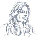 Vektorteckning av att le kvinnan med stilfull frisyr _ royaltyfri illustrationer