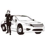 Vektorteckning av bilen och mannen Royaltyfri Fotografi