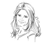 Vektorteckning av den förbryllade kvinnan med stilfull frisyr royaltyfri illustrationer