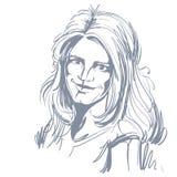 Vektorteckning av den förbryllade kvinnan med stilfull frisyr Svart och royaltyfri illustrationer