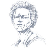 Vektorteckning av den ilskna kvinnan med stilfull frisyr _ stock illustrationer