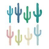 Vektorteckning av den mångfärgade kaktuns Illustrationen simulerar det handgjort Royaltyfri Fotografi
