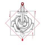 Vektorteckning av den prickiga rosblomman, kniven, droppe och den geometriska formen i svart och rött på vit bakgrund royaltyfri illustrationer