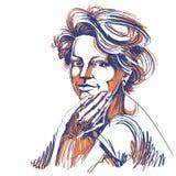 Vektorteckning av den säkra eleganta kvinnan med stilfull frisyr stock illustrationer