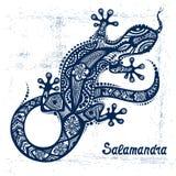 Vektorteckning av en ödla eller en salamander Fotografering för Bildbyråer