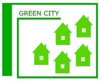 Vektorteckning av en grön stadslogo stock illustrationer